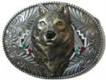 Wolf Head Dimensional Belt Buckle + display stand. Code TR8
